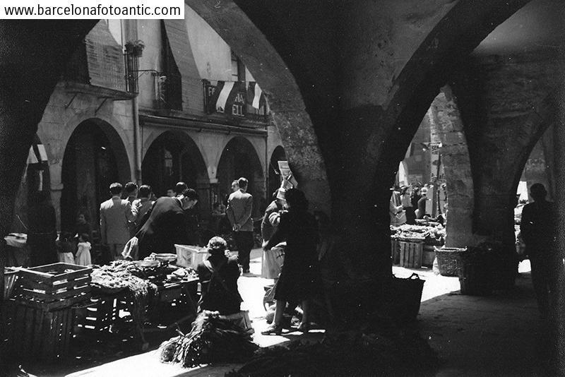 Dia de mercat a Tàrrega, Maig 1950